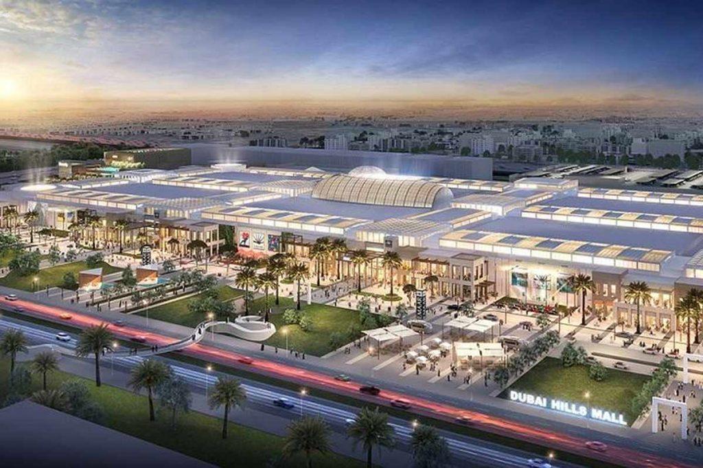 نمای بیرونی مرکز خرید hillsmall در دوبی که با استفاده از لامپ های ال ای دی (LED) نورپردازی شده